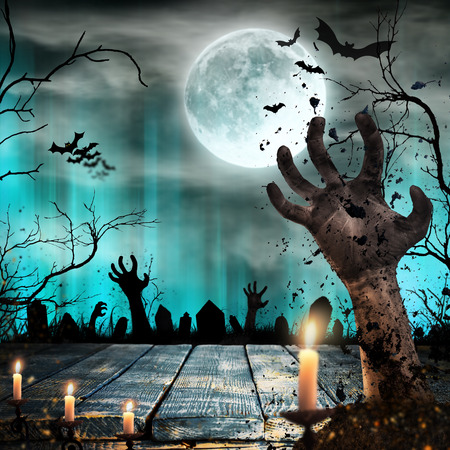 Scary Halloween background with zombie hands. Banco de Imagens - 87418618