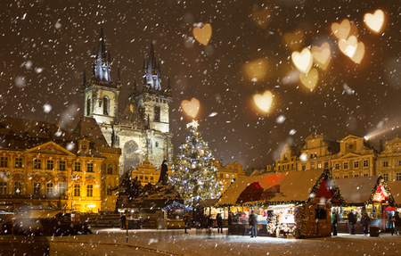 The Old Town Square at winter night in the center of Prague City during Christmas.