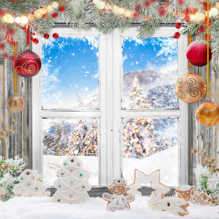 Christmas old white window with decorations. Stock Photo