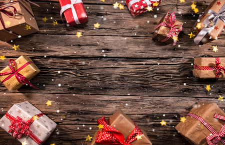 Christmas decoration on wooden background, lots of copy space for your product or text. Imagens