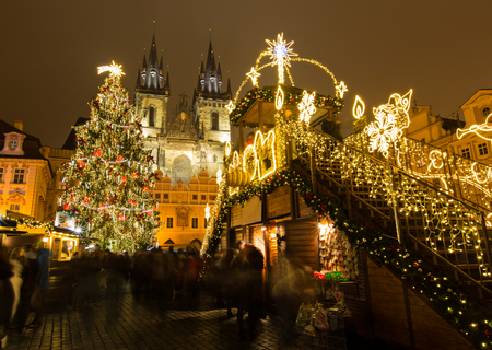 The Old Town Square at Christmas time in the center of winter Prague.