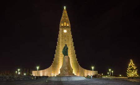 Hallgrimskirkja Cathedral in Reykjavik at night, Iceland, Europe. Stock Photo