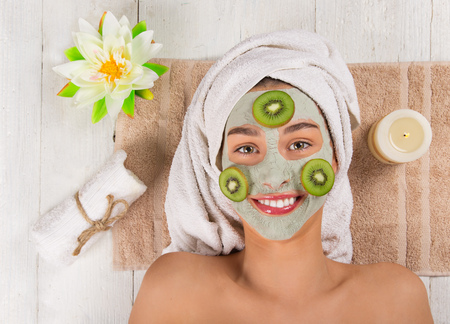 Young healthy woman with face mask. Stockfoto