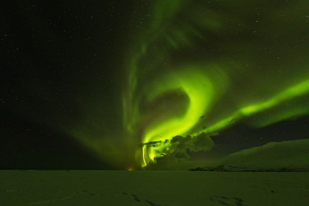 Aurora borealis, northern lights in Iceland during winter. Stock Photo
