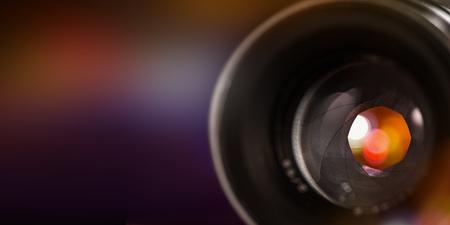 Camera lens with lense reflections, macro shot, close-up.