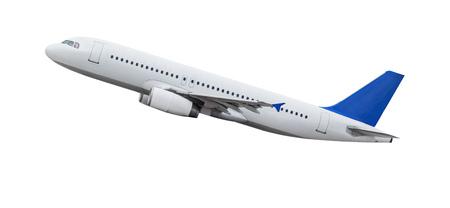 Commercieel vliegtuig dat op witte achtergrond wordt geïsoleerd. Stockfoto - 93784490