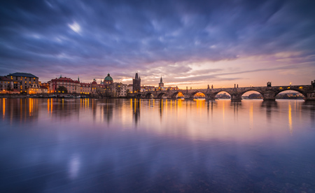 Charles bridge in Prague after sunset. Czech republic.