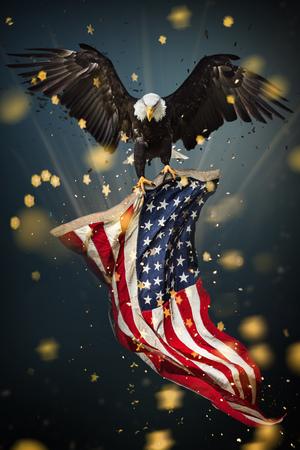 Weißkopfseeadler mit amerikanischer Flagge Standard-Bild - 98147308