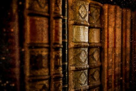 Libri d'antiquariato d'epoca nella vecchia biblioteca. Archivio Fotografico - 98147268