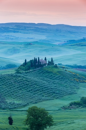Villa Belvedere in the morning Tuscany landscape.