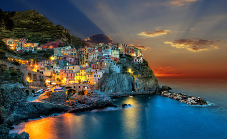 Sunset over Manarola town, Itlay. Stock Photo