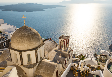 Old church dome on the edge of the town of Fira. Reklamní fotografie