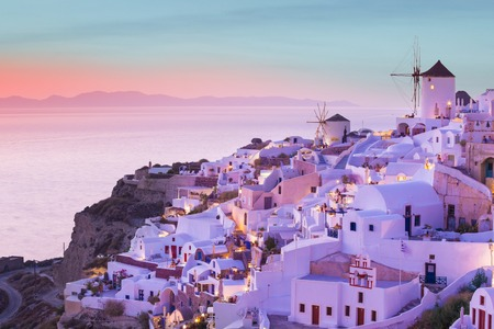 The famous sunset at Santorini in Oia village Stock Photo