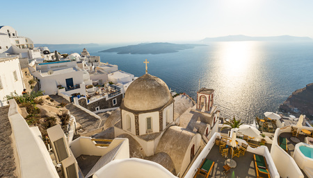 Old church dome on the edge of the town of Fira. 스톡 콘텐츠
