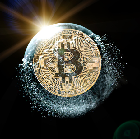 Bitcoin coin in a soap bubble. Concept of instability of the crypto currency over black background.