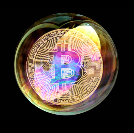Bitcoin coin in a soap bubble. Concept of instability of the crypto currency over black background. Imagens - 99219842