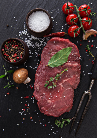 raw beef on wooden background