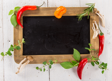 Various colorful spices on wooden table, top view. 写真素材 - 100059722