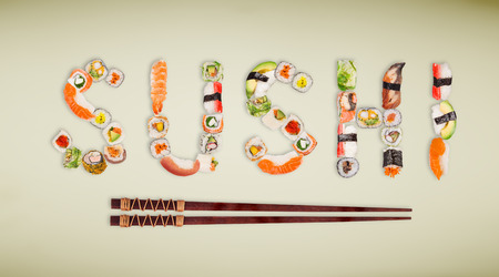Traditional japanese sushi pieces making inscription. Very high resolution image. Standard-Bild - 100059727