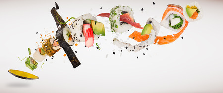 Pieces of delicious japanese sushi frozen in the air. Isolated on light grey background Imagens