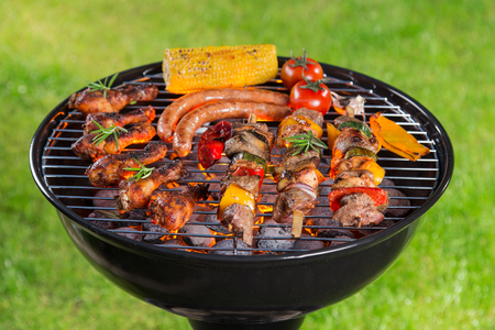 Barbecue garden grill with tasty various kind of meat, close-up.