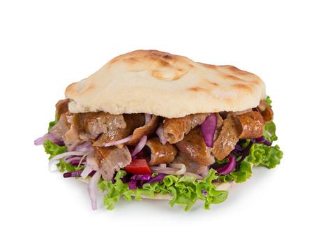 Turkish Doner Kebab Sandwich isolated on white background. Stock Photo