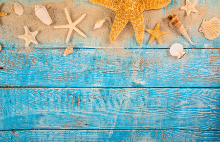 Summer traveling time. Sea holiday background with various shells. Place for your text.
