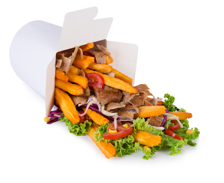 Turkish Kebab box with french fries isolated on white background. 写真素材 - 101640964