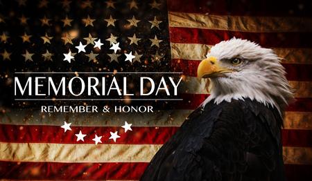 美国国旗与文本阵亡将士纪念日。