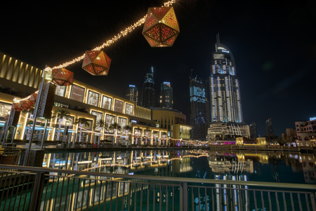 DUBAI, UAE - MAY 26, 2018: Dubai Mall at night- worlds largest shopping mall based on total area and sixth largest by gross leasable area, United Arab Emirates.