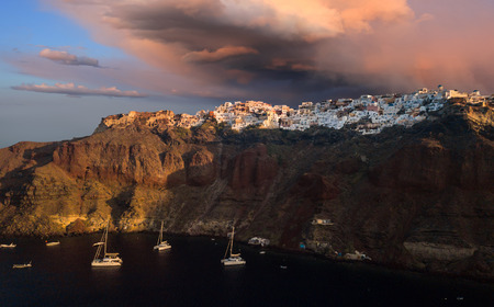 The famous sunset at Santorini in Oia village Stock Photo