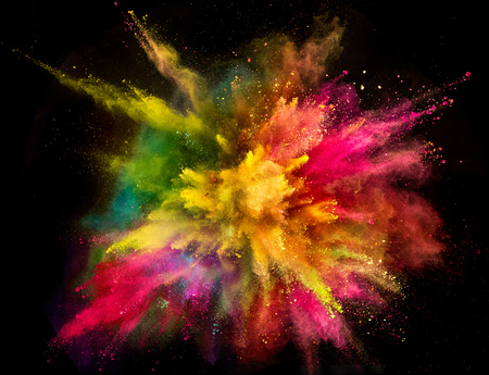 Colored powder explosion on black background. 版權商用圖片 - 103232923