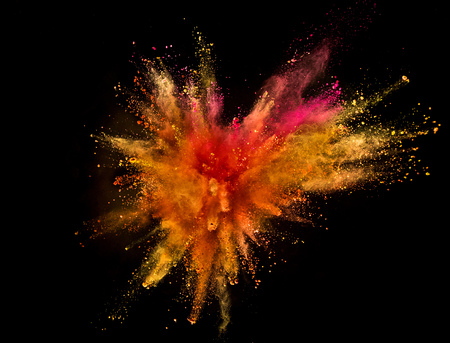 Colored powder explosion isolated on black background. Freeze motion. Stock Photo - 103234218