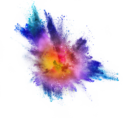 Colored powder explosion isolated on white background. Stock Photo