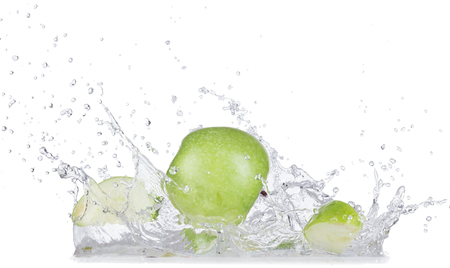 Fresh apples with water splash over white background, close-up.