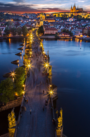 Charles Bridge with Prague Castle after sunset. Central Europe, Czech republic Stock Photo