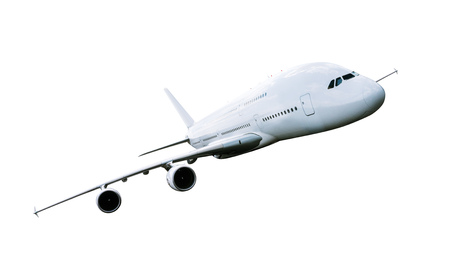 Big commercial airplane isolated on white.