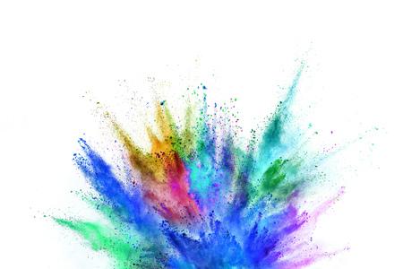 Gekleurde poederexplosie op witte achtergrond. Stockfoto