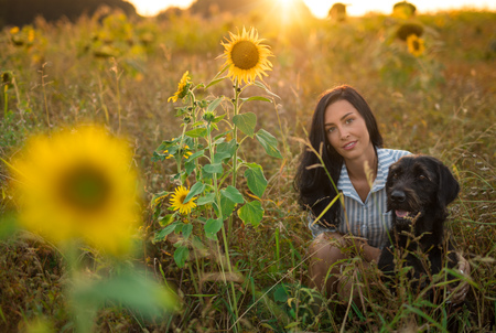 Black dog with girl posing in sunflower field.