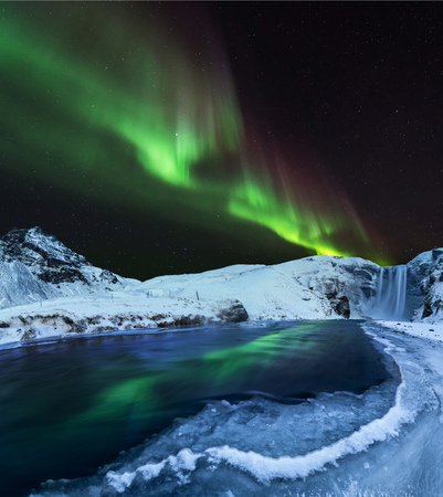 Aurora borealis, northern lights in Iceland during winter. Reklamní fotografie