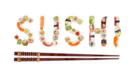 Piezas de sushi japonés tradicional haciendo inscripción. Foto de archivo
