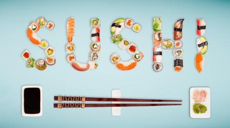 Traditional japanese sushi pieces making inscription. Standard-Bild - 108208715