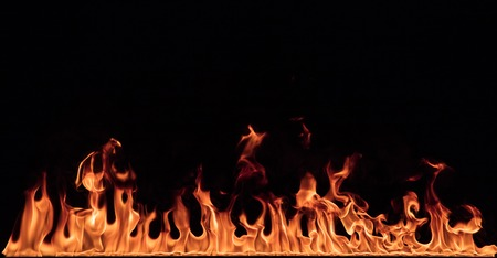 Texture of fire on a black background. Banque d'images