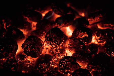 Glowing Hot Charcoal Briquettes on garden grill, close-Up, Reklamní fotografie - 109550638