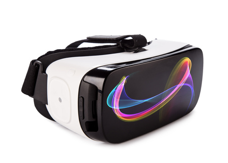 VR virtual reality glasses on white background Foto de archivo