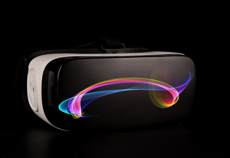 VR virtual reality glasses on black background