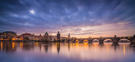 Charles Bridge with Castle after sunset. Central Europe, Czech republic