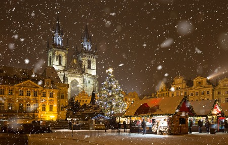 The Old Town Square at Christmas time. Stock Photo