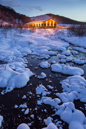 Beautiful wooden hut in winter, Iceland.