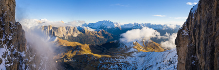 Beautiful autumn landscape in the Dolomites mountains. Stock Photo